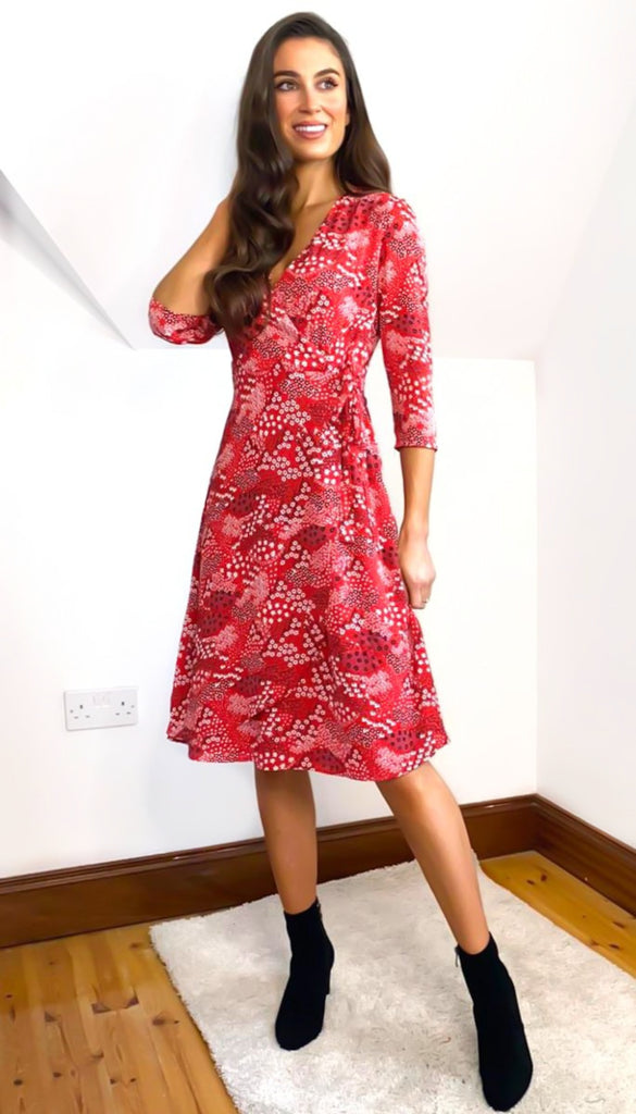 6709 Liz Red Faux Wrap Dress