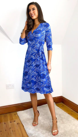 6657 Katherine Teal Floral Dress
