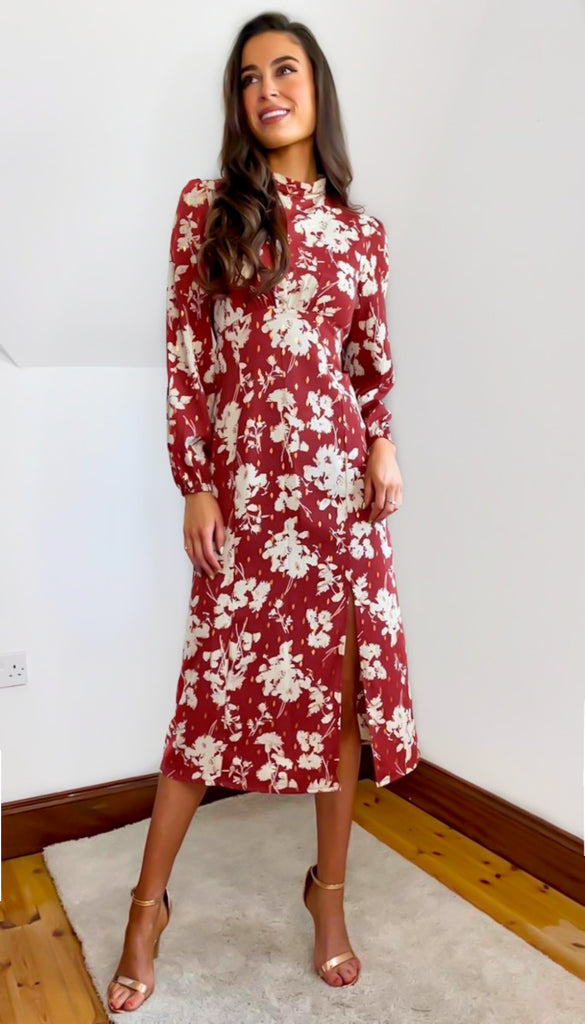 6725 - (SIZES 14,16 ONLY) - Sheena Rust Floral Midi Dress