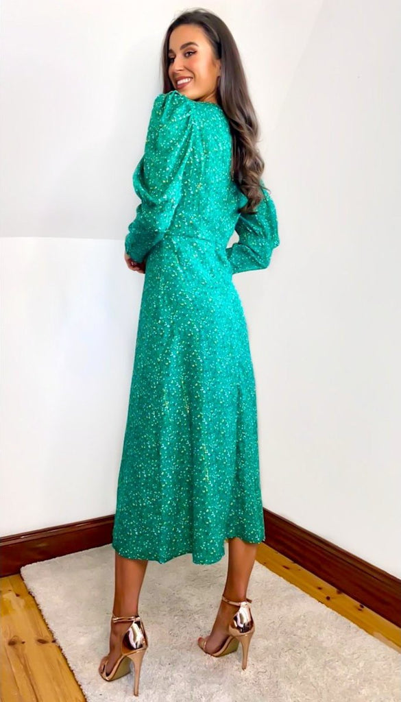 6727  (SIZE 8 ONLY) - Green Puff Sleeve Midi Dress