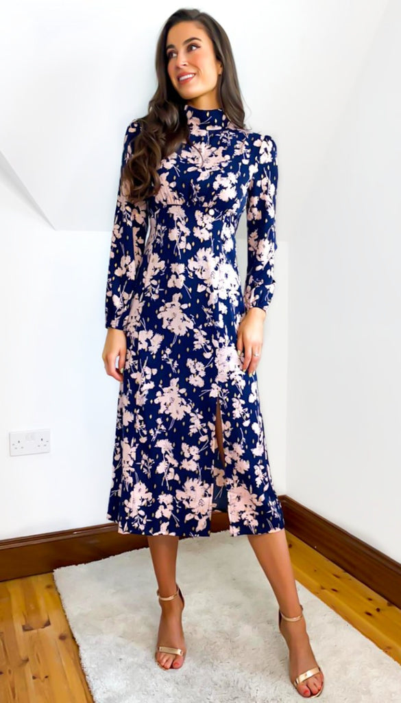 6736 - (SIZES 10,14 ONLY) - Navy Sheena Floral Midi Dress