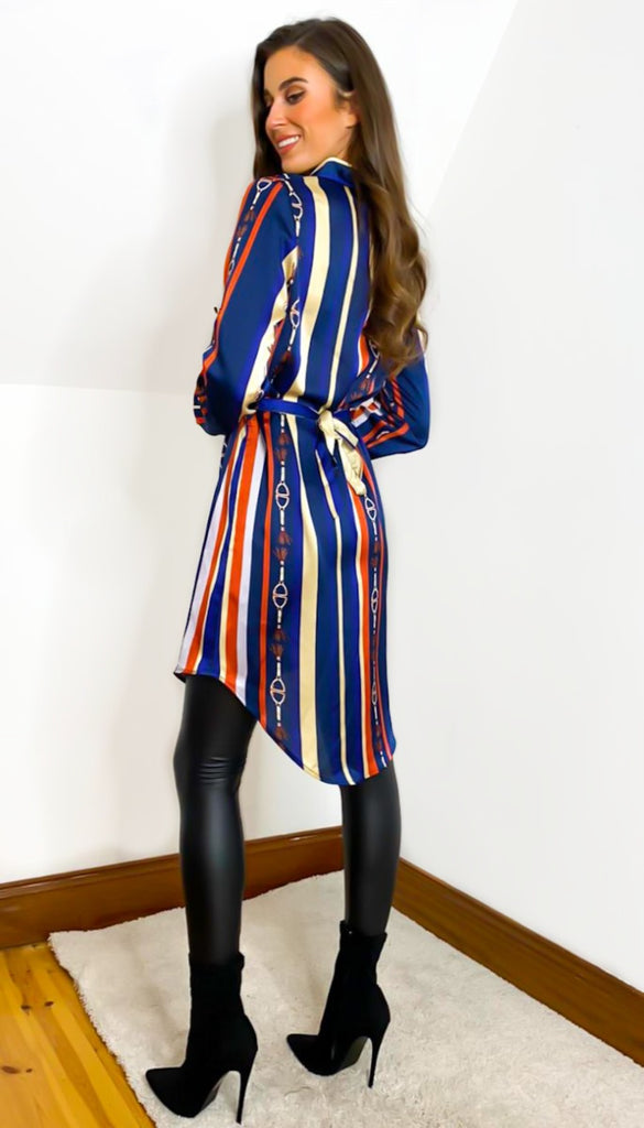 6744 Como Stripe Shirt Dress