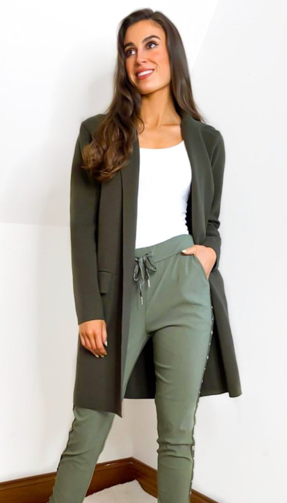 7007 Khaki Coat Cardi With Pockets