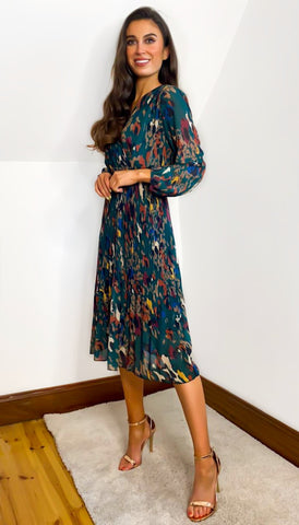 6715 Blue Liz Wrap Look Dress
