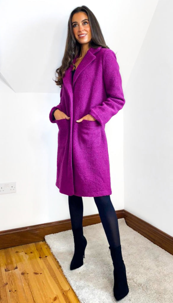 1-6760 Magenta Trillion Button Coat