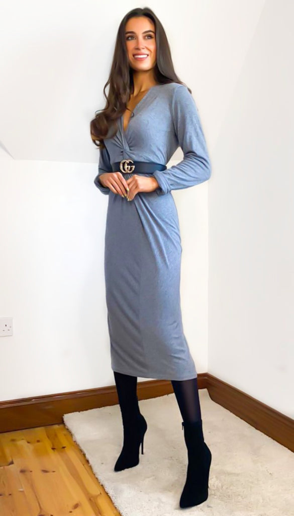 6764 Grey Knit Dress & Cardigan Set
