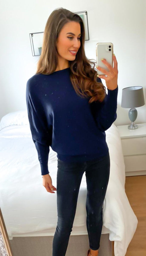 6766 Navy Knit Batwing Top