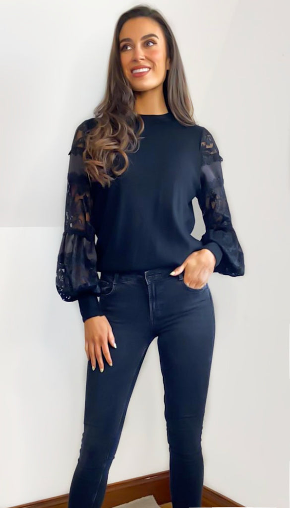 6773 Black Puff Embroidered Sleeve Knit