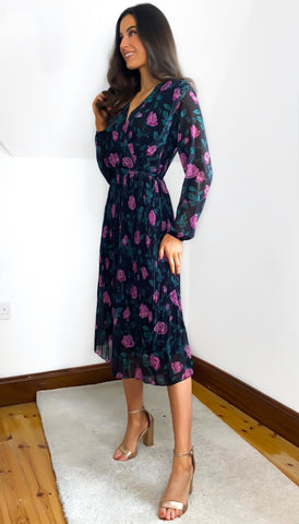 6704 Selene Black Paisley Print Dress