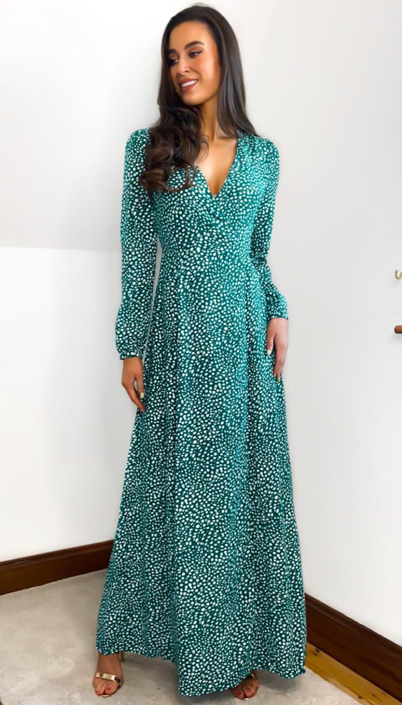 5-6795 - (SIZE 14 ONLY) - Tatum Jade Wrap Maxi Dress