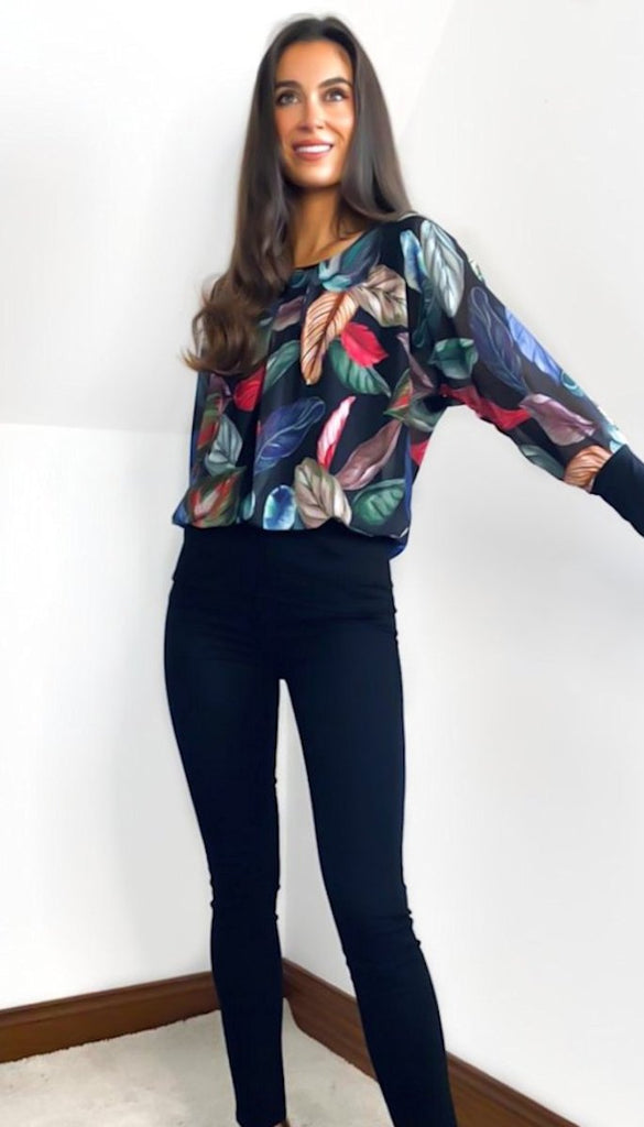 5-6803 - (SIZE 16 ONLY) - Black Floral Chiffon Top