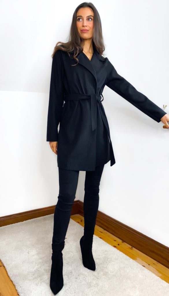 6805 Black Susine Felt Coat