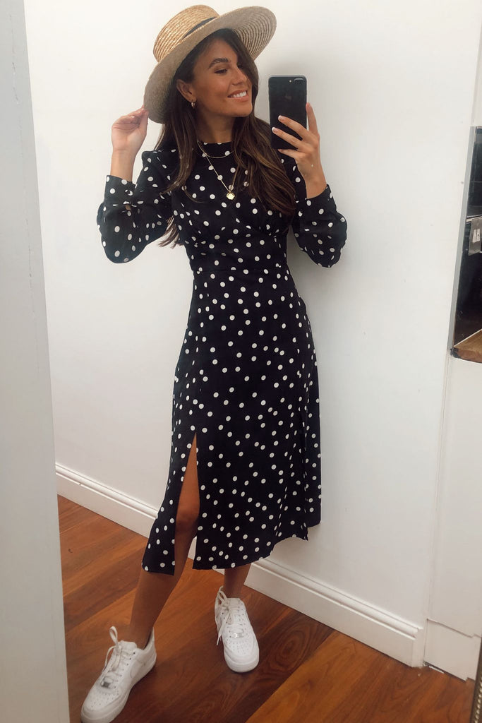 1-6941 Talia Black Polka Dot Dress