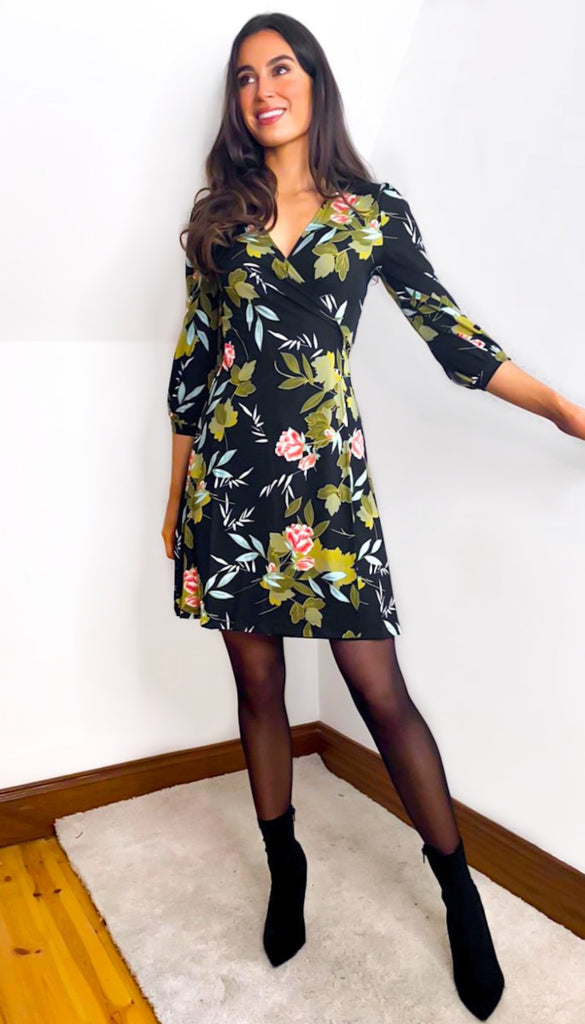 6903 Sonnet Black Floral Wrap Dress
