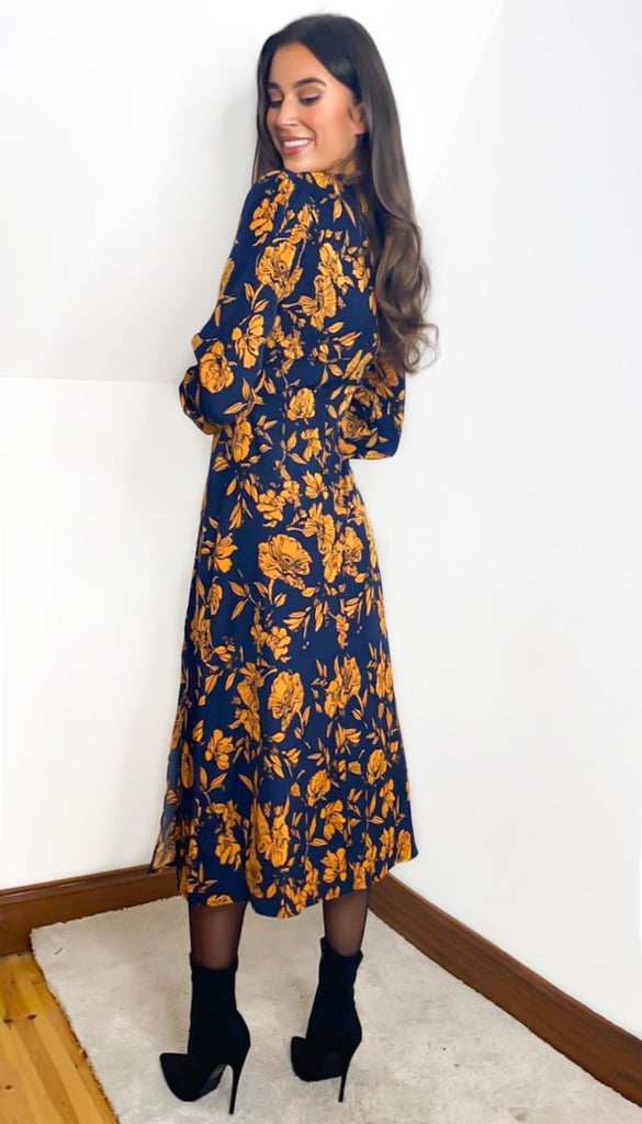 5-6936 - (SIZE 8 ONLY) - Bessy Navy Floral Midi Dress