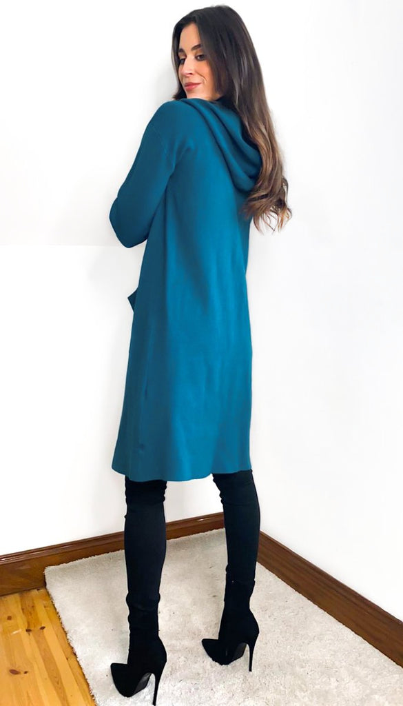 6954 Teal Hooded Cardigan