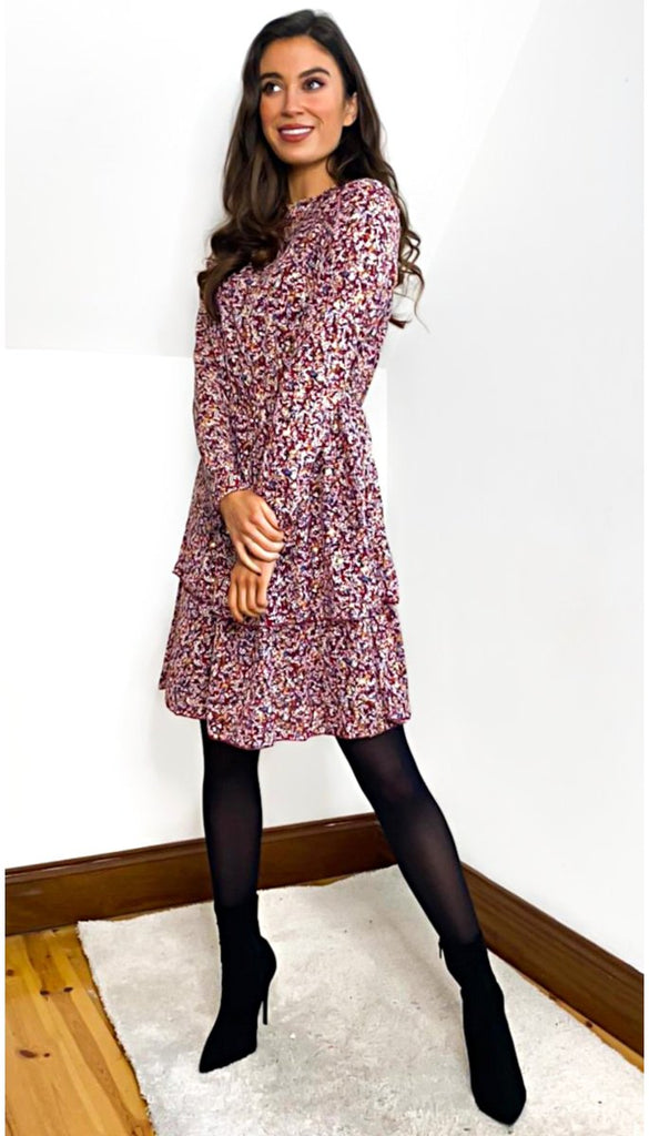 7008 Burgundy Floral Frill Dress
