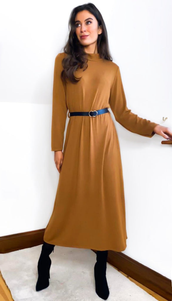 7014 Camel Midi Belted Knit Dress
