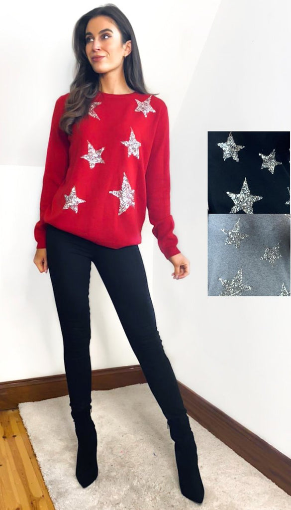 7025 Ciara Star Fine Knit Jumper