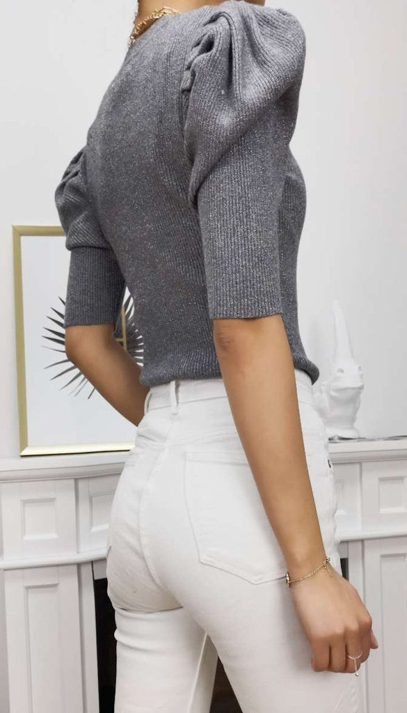 7045 Grey Lurex Puff Sleeve Top