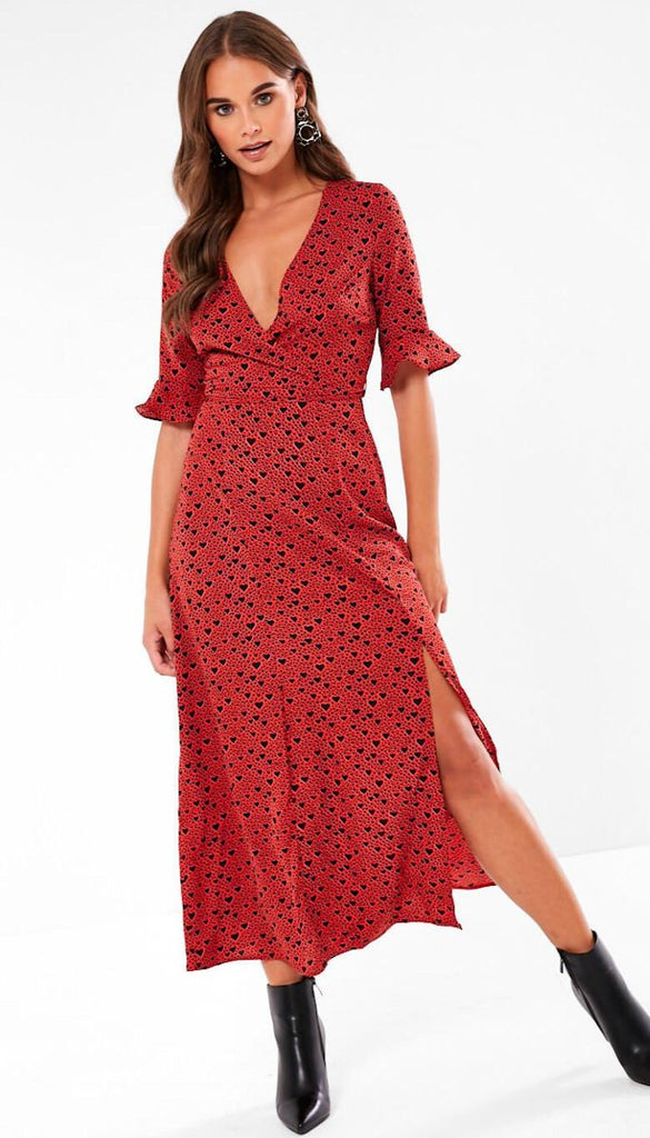 7046 - (SIZES 8,10,14) - Wrap Style Heart Print Dress