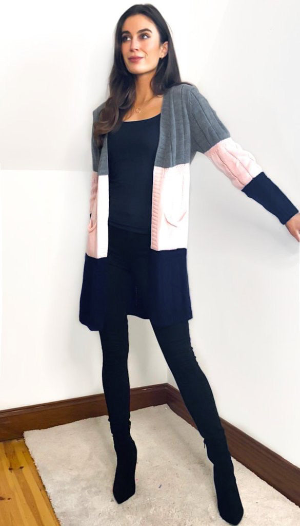 7052 Rosa Colour Block Cardigan