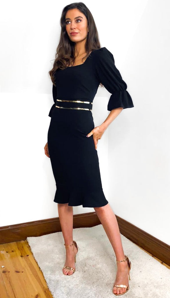 7056 - (SIZE 8 ONLY) - Karla Black Belted Fishtail Dress