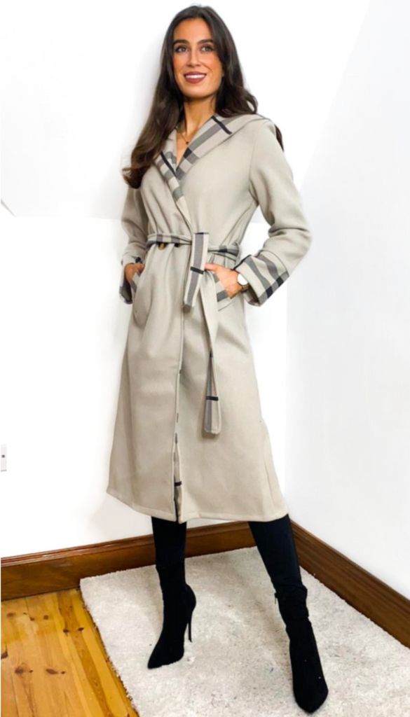 1-7059 Catya Two Tone Hooded Coat