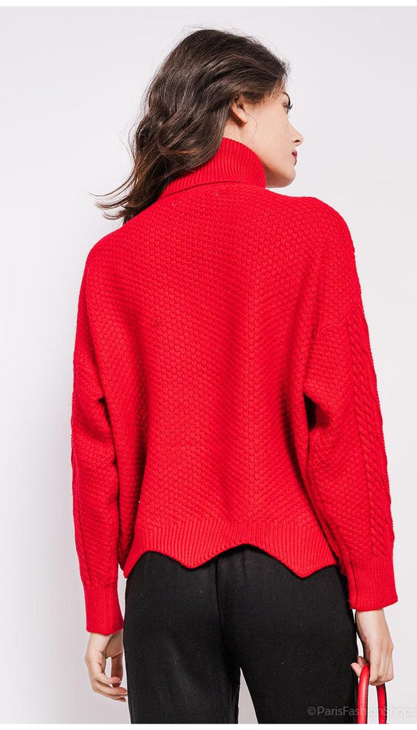 1-7073 Red Turtleneck Cable Knit