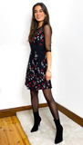 7096 Black & Red Floral Mesh Sleeve Dress