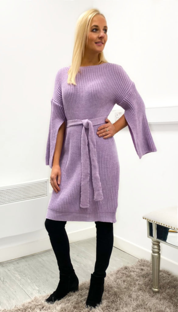 7097(b) Slit Sleeve Lilac Knitted Dress