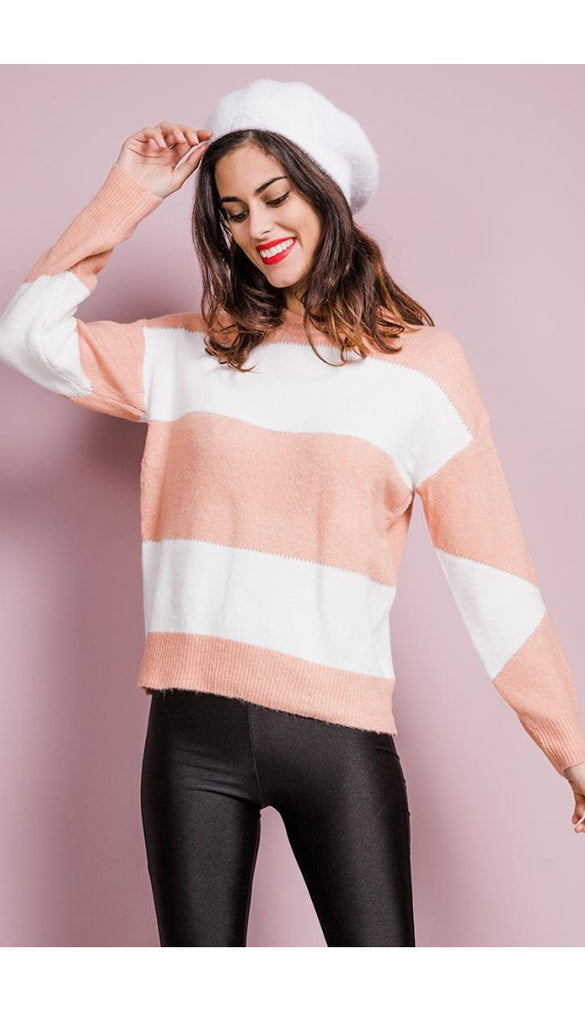 7108 Peach/Cream Spring Knit