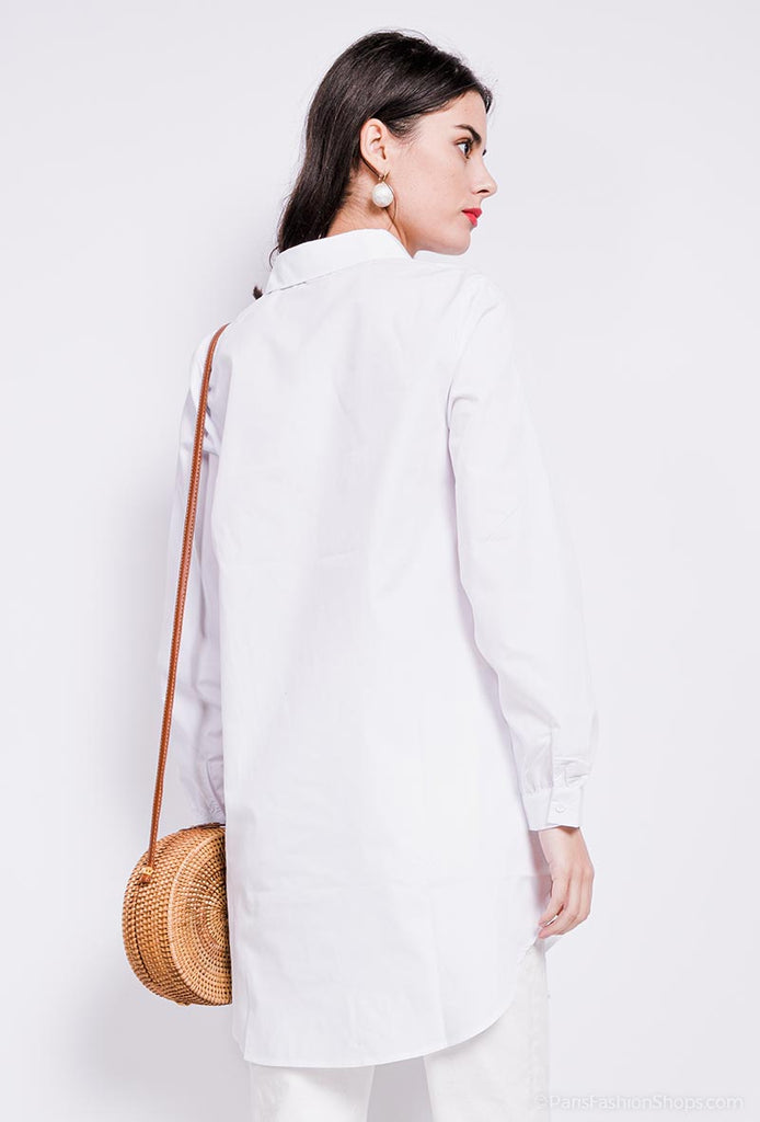 7146 Chemise White Oversized Long Shirt