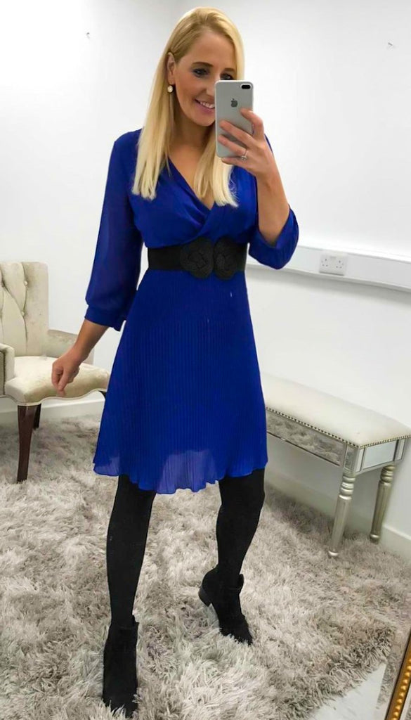 1-7175 Lauren Blue Pleat Dress
