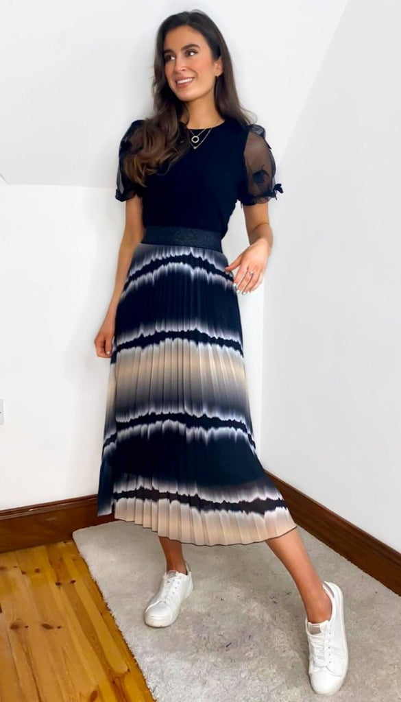 1-7171 Black Tie Dye Look Midi Skirt