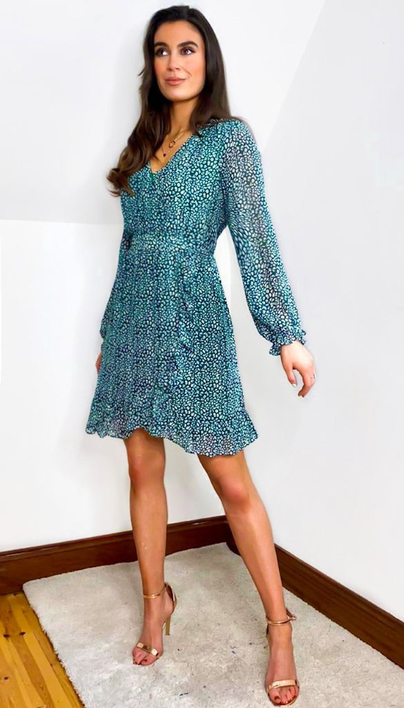 7182 Green Alvia Frill Dress