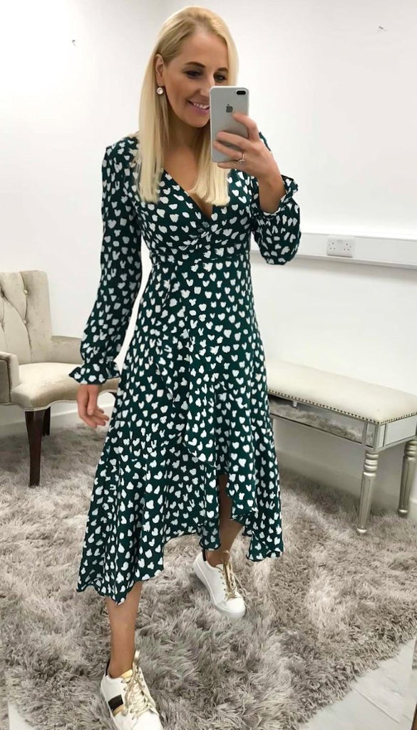 7206 - (SIZE 8/10 ONLY) - Green Heart Print Wrap Dress