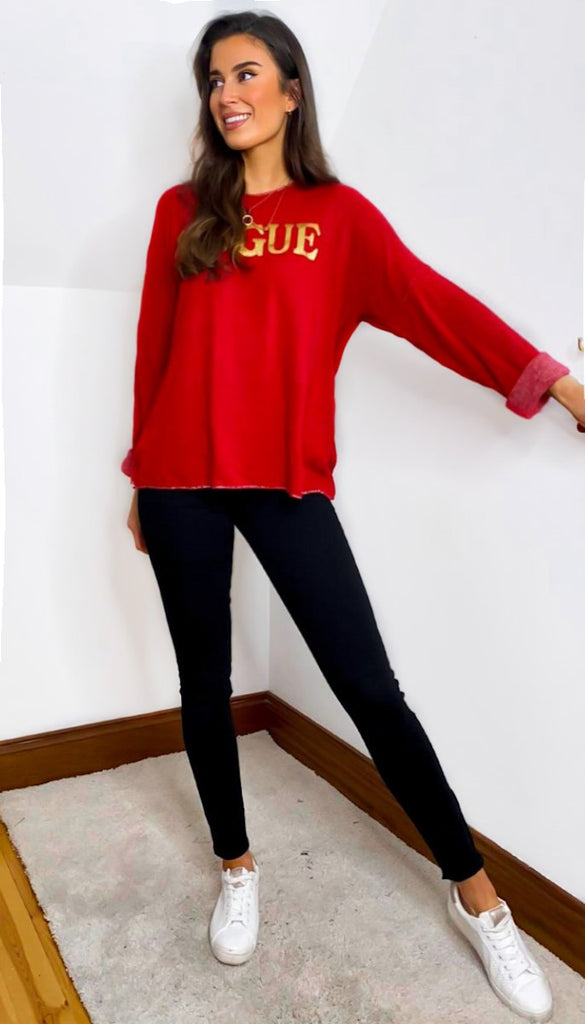 7207 Red Vogue Soft Knit Top