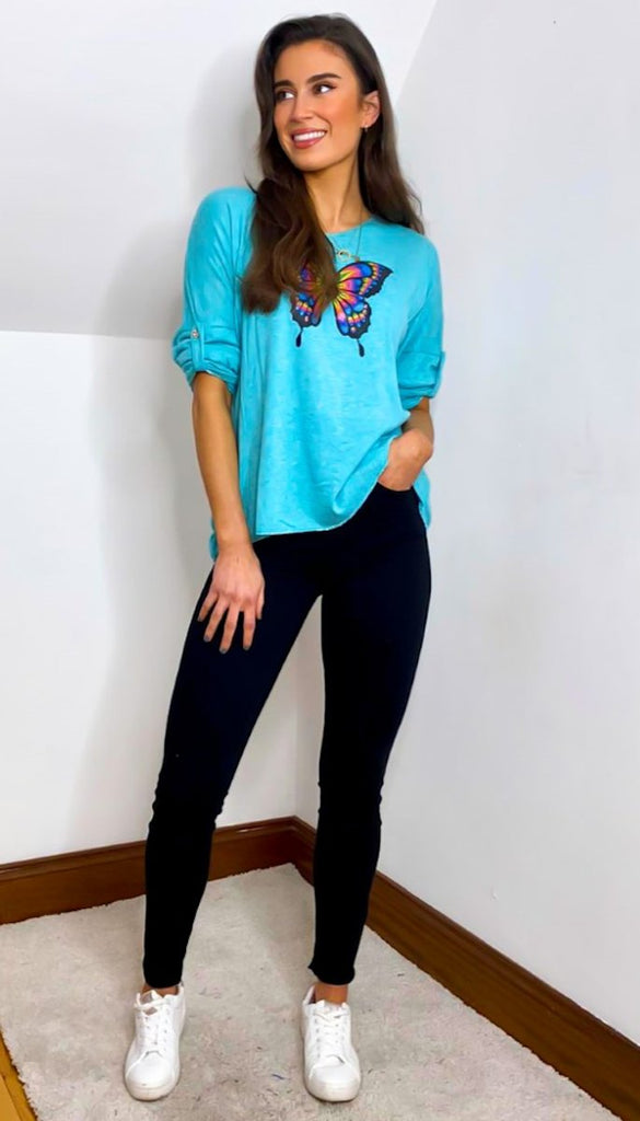 7210 Turquoise Butterfly Fine Knit Top