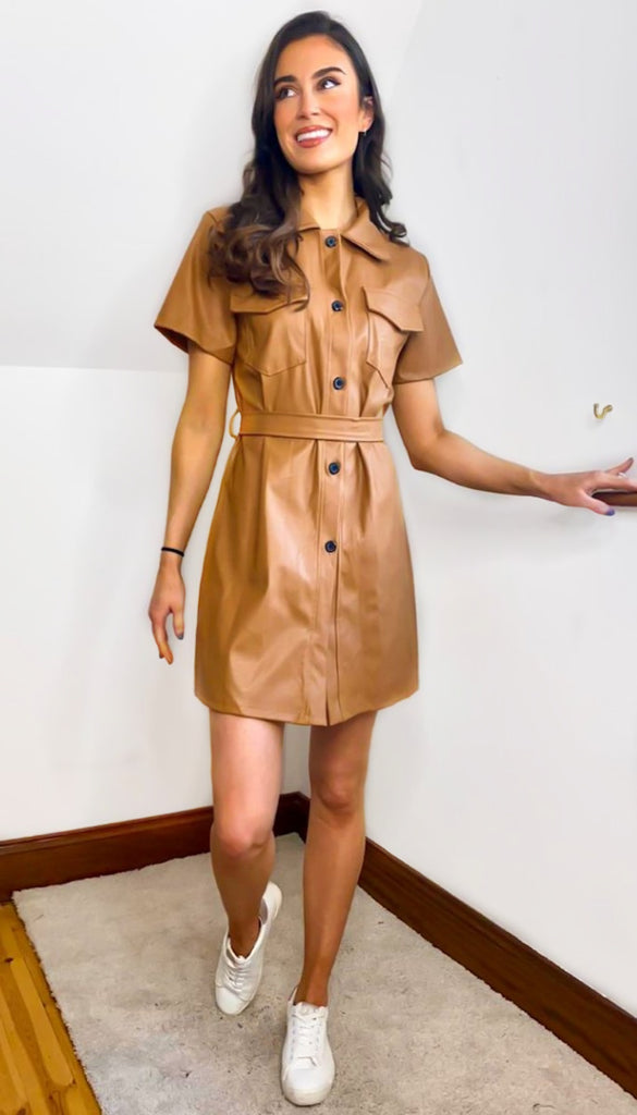 7228 Tan Faux Leather Shirt Dress