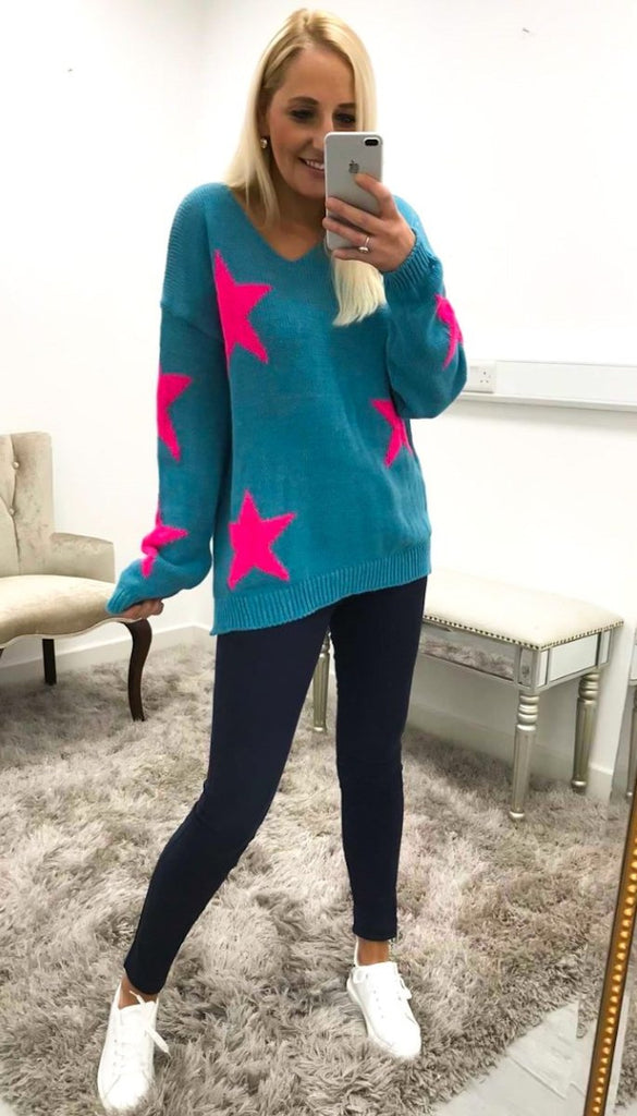 1-7232 Teal V Neck Star Jumper