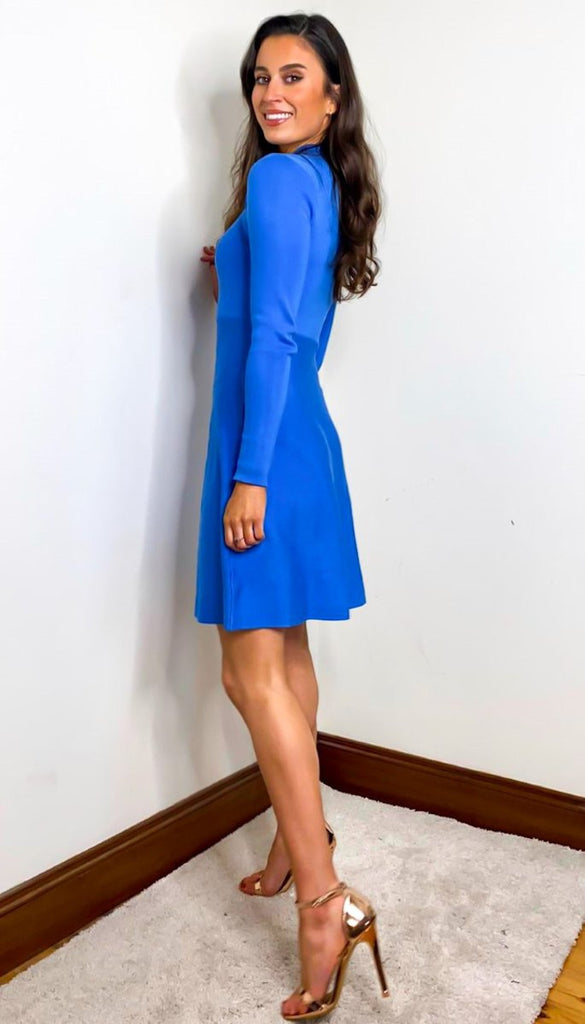 7258 - (SIZE 12 ONLY) - Blue Devin Knit Flare Dress