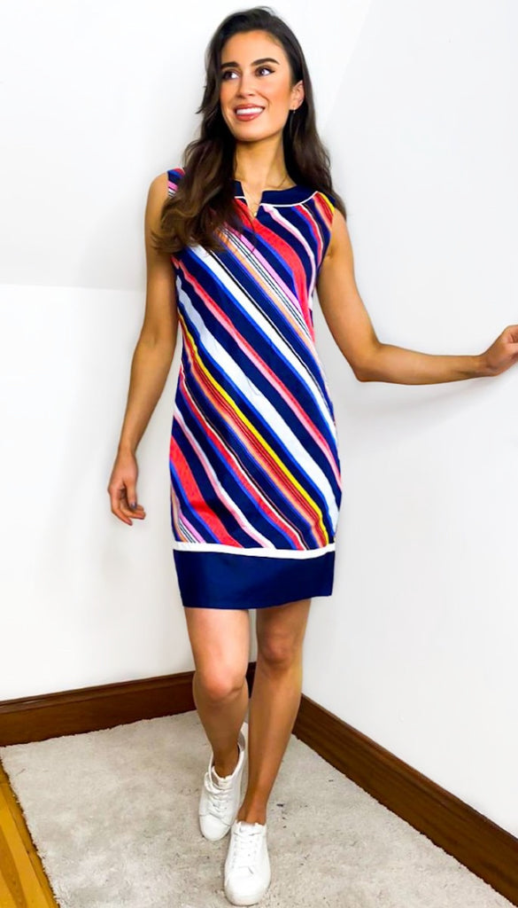 7620 - (SIZE 12 ONLY) - Muriel Striped Tunic Dress