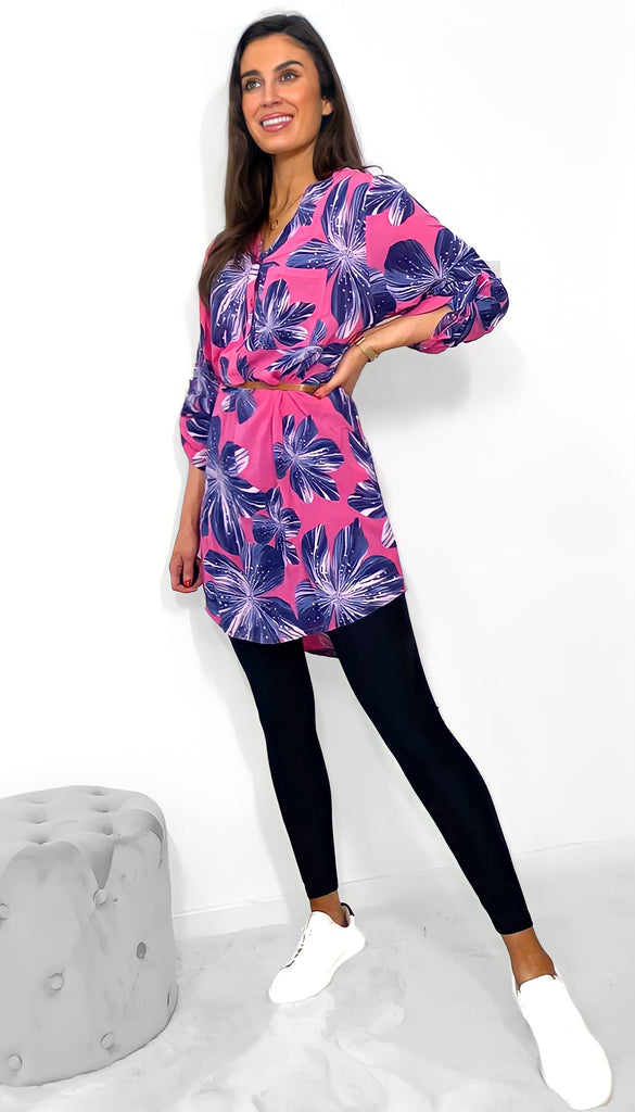 7647 Pink Leaf Print Shirt Dress