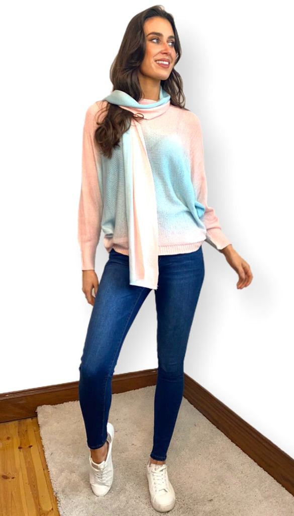 1-7413 Tie Dye Look Batwing Top & Scarf