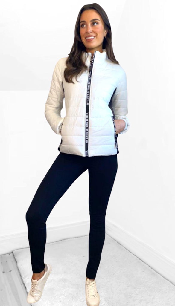 7460 - (SIZE 12 ONLY) - White Sporty Puffa Jacket