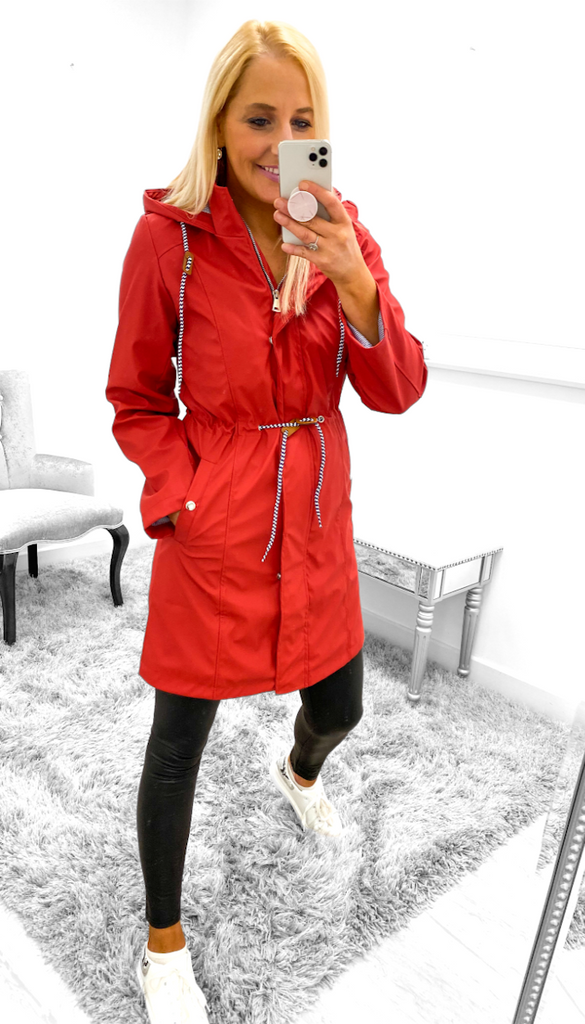 7524 - (SIZES 8,10 ONLY) - Dympna Red Rain Jacket