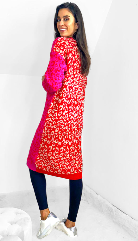 7532 Mixed Print Long Cardigan Red/Pink