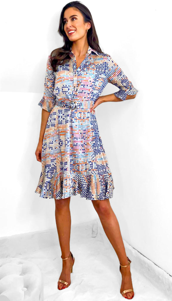 7544 - (SIZE 16 ONLY) - Jan Dress Blue Box Print