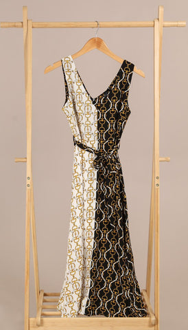 7249 - (SIZES 8,10 ONLY) - Cameron Black Multi Wrap Dress